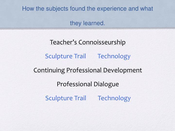 How the subjects found the experience and what they learned.