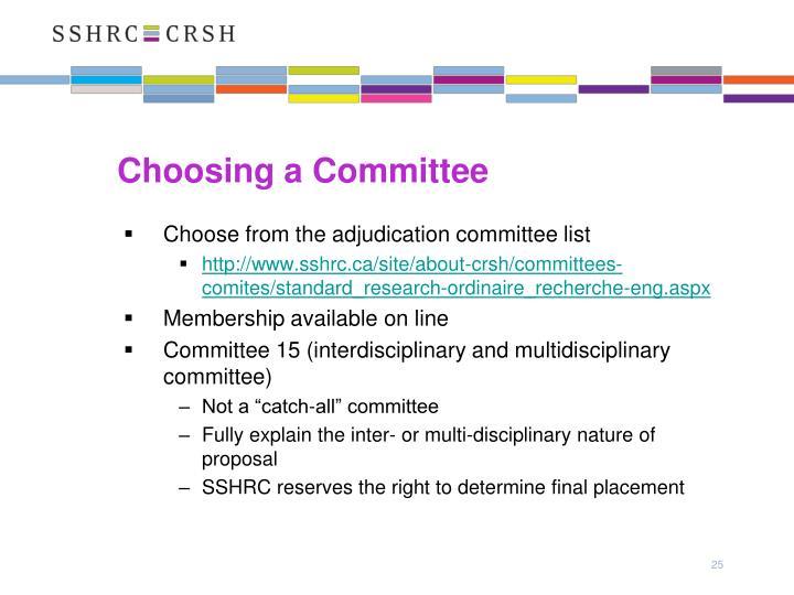 Choosing a Committee