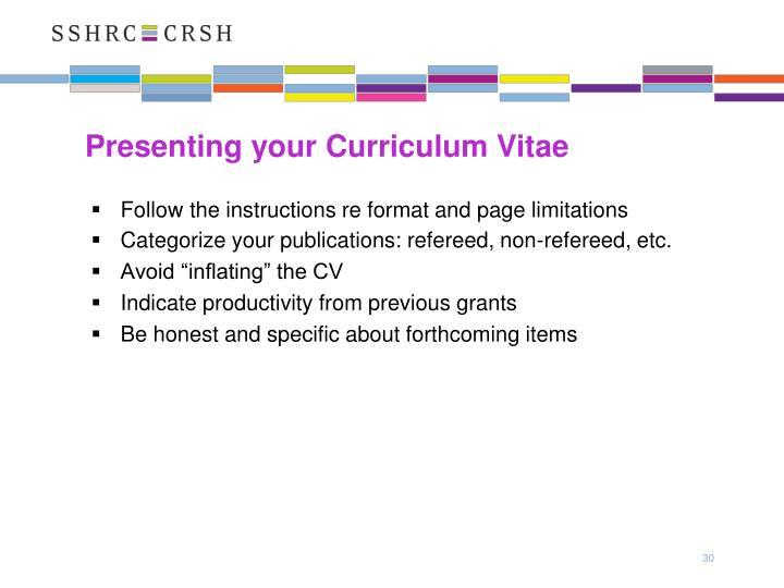 Presenting your Curriculum Vitae