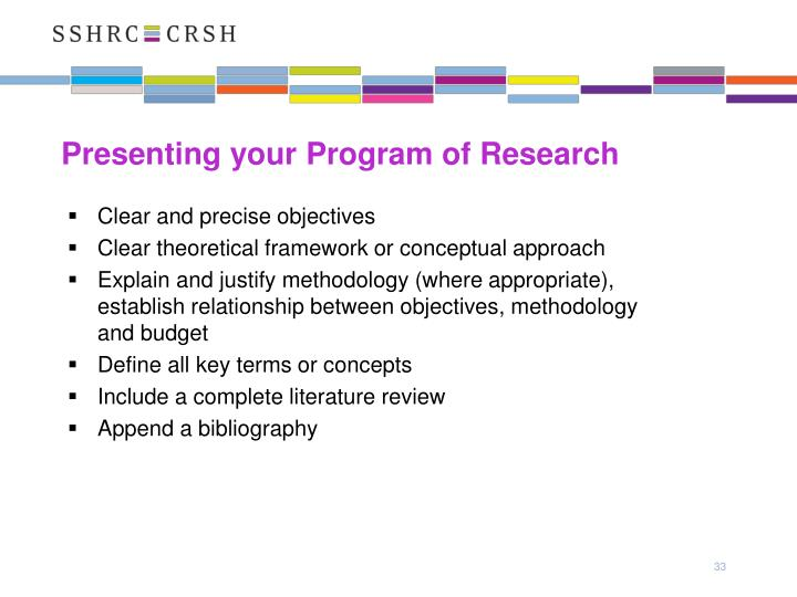 Presenting your Program of Research