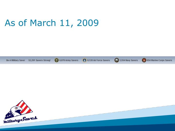 As of March 11, 2009