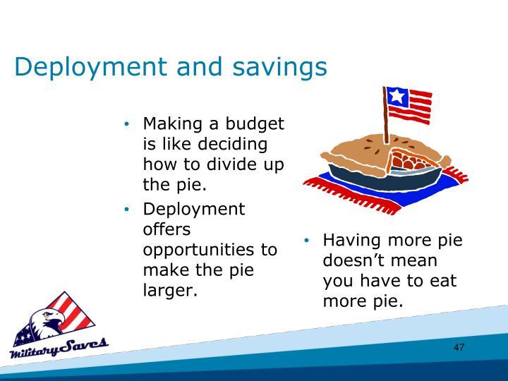 Deployment and savings