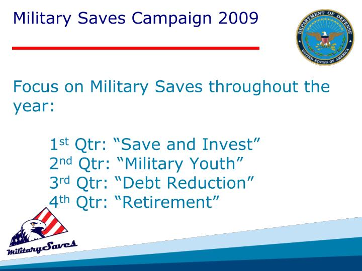 Focus on Military Saves throughout the year: