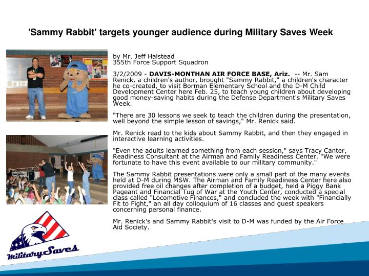 'Sammy Rabbit' targets younger audience during Military Saves Week