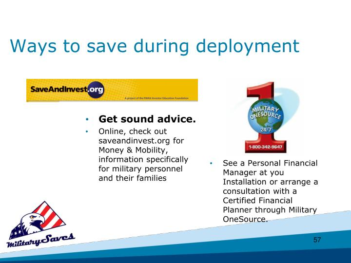 Ways to save during deployment
