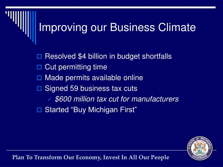 Improving our Business Climate