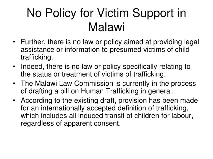 No Policy for Victim Support in Malawi