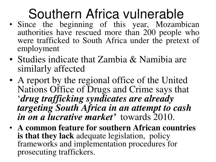 Southern Africa vulnerable