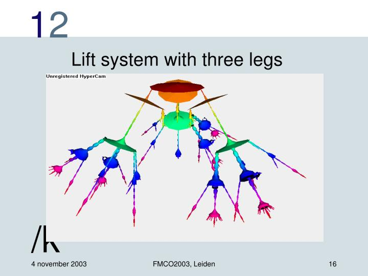Lift system with three legs