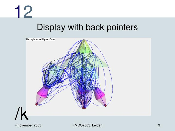 Display with back pointers