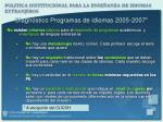 diagn stico programas de idiomas 2005 2007