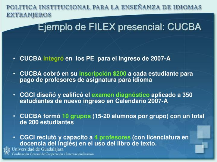 Ejemplo de FILEX presencial: CUCBA
