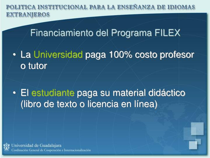 Financiamiento del Programa FILEX