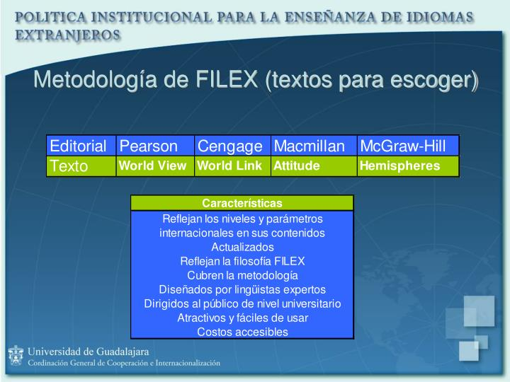 Metodología de FILEX (textos para escoger)