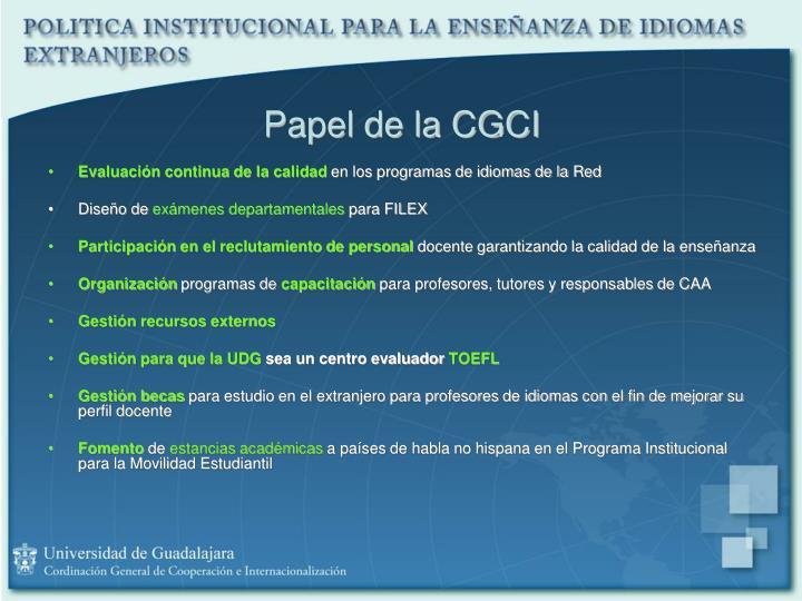 Papel de la CGCI