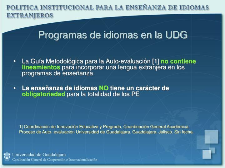 Programas de idiomas en la UDG