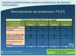 reclutamiento de profesores filex