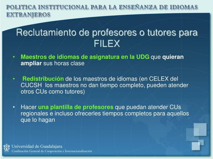 Reclutamiento de profesores o tutores para FILEX