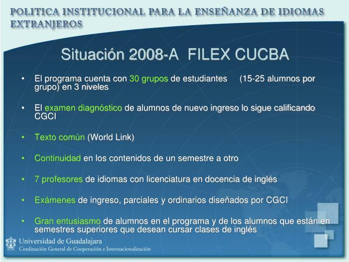 Situación 2008-A  FILEX CUCBA
