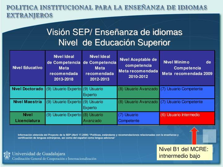 Visión SEP/ Enseñanza de idiomas
