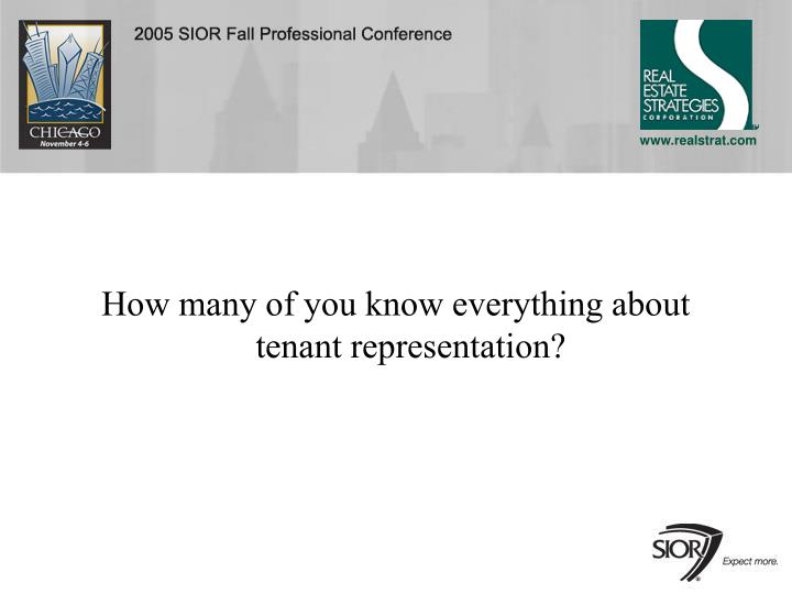 How many of you know everything about tenant representation?