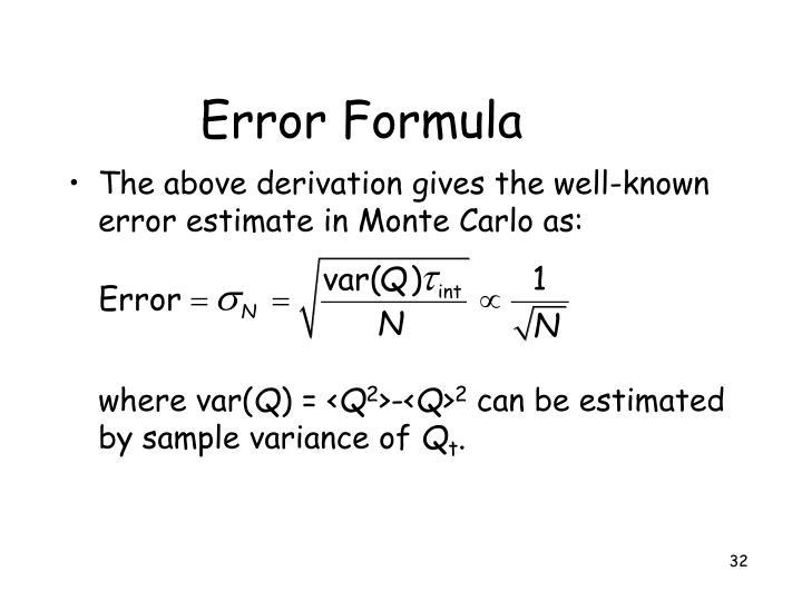 Error Formula