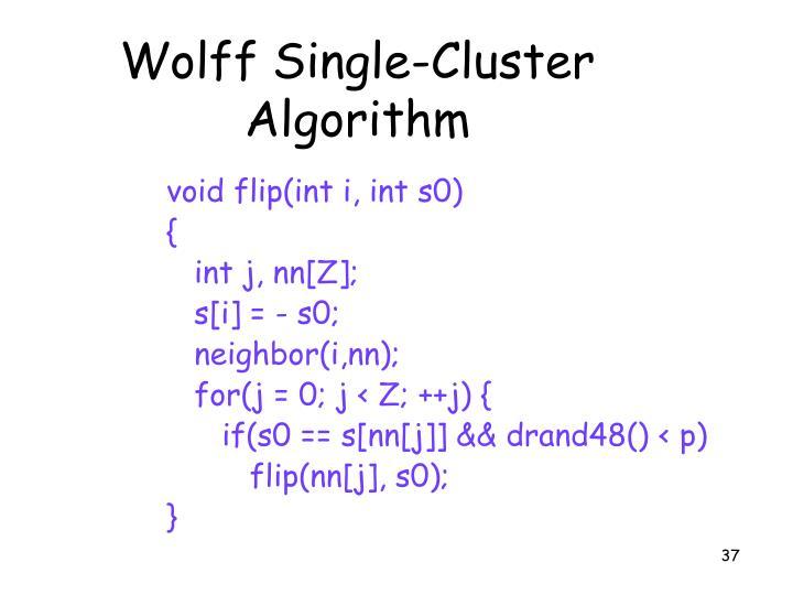 Wolff Single-Cluster Algorithm