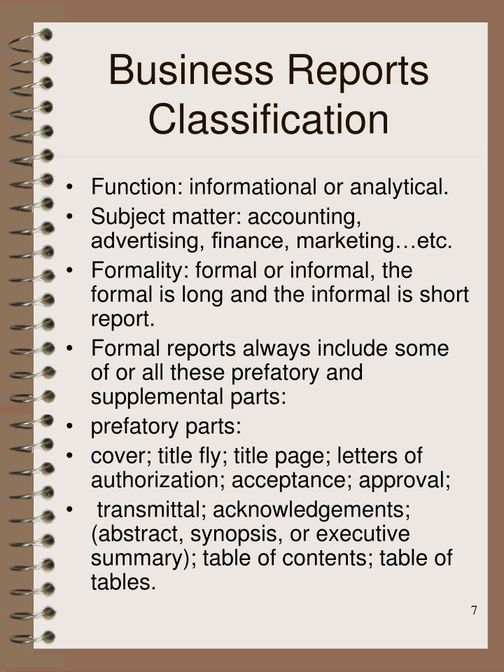 Business Reports Classification