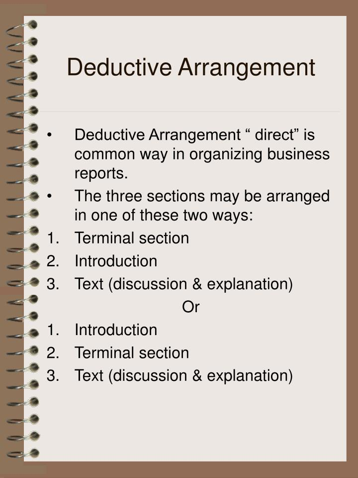 Deductive Arrangement