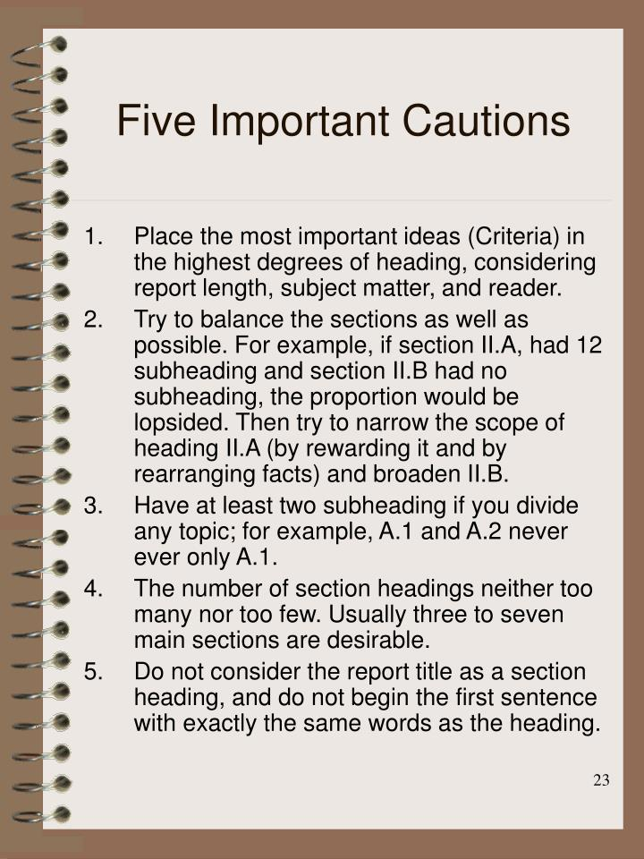 Five Important Cautions