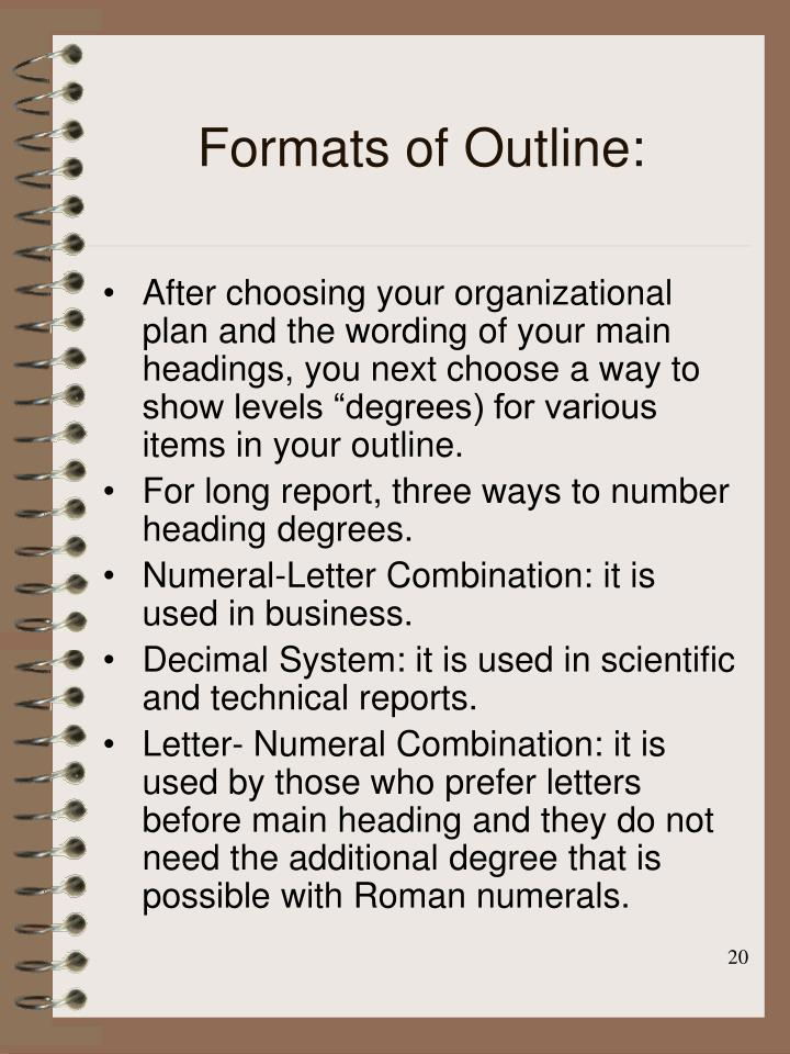 Formats of Outline: