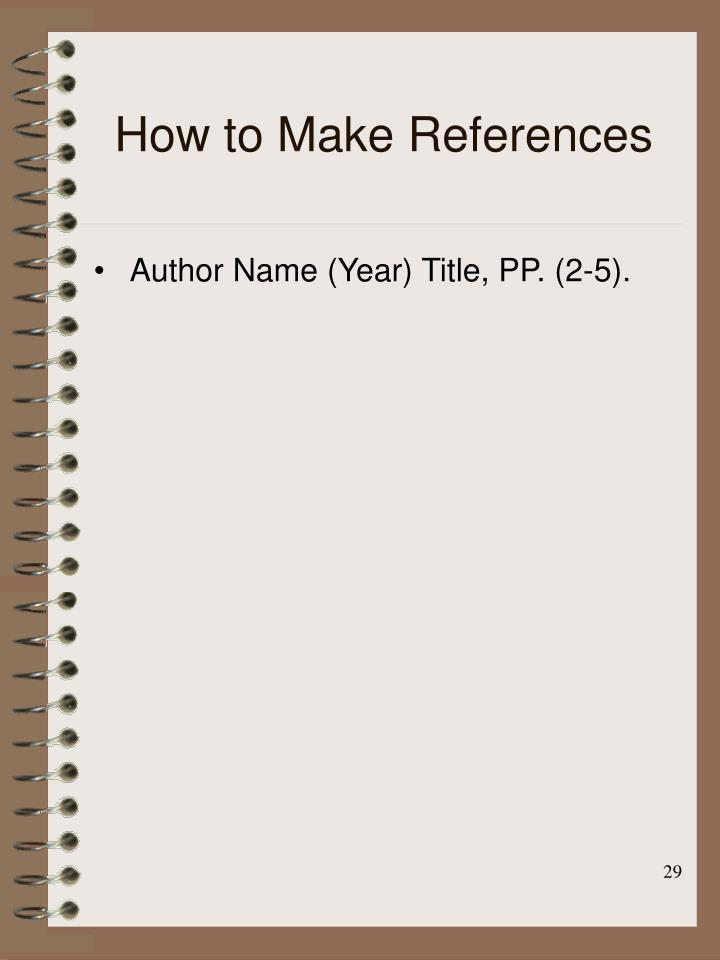 How to Make References