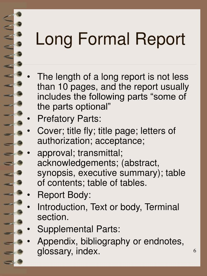 Long Formal Report