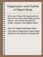 organization and outline of report body
