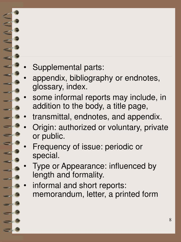 Supplemental parts: