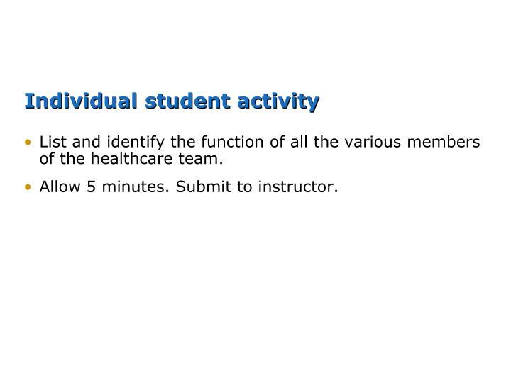 Individual student activity