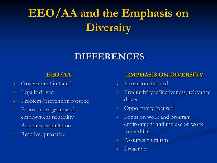 Eeo aa and the emphasis on diversity