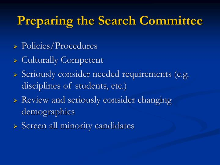 Preparing the Search Committee