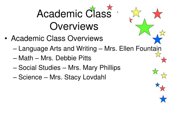 Academic Class Overviews