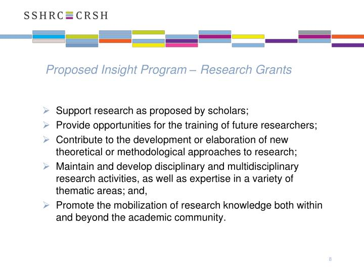 Proposed Insight Program – Research Grants