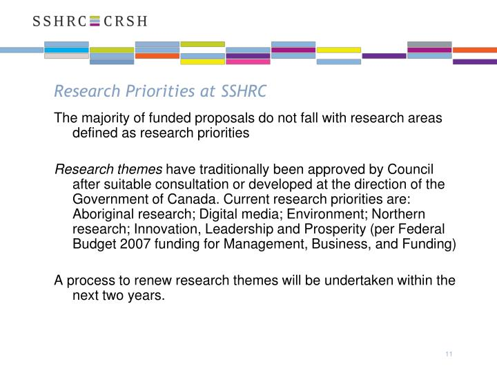 Research Priorities at SSHRC