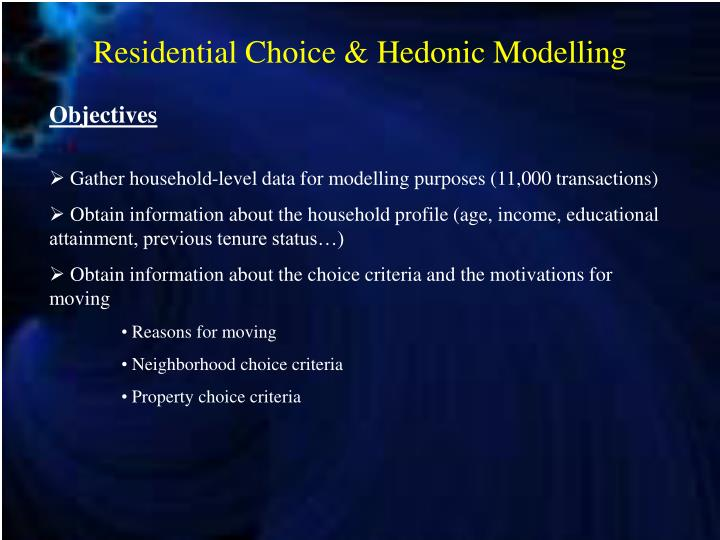 Residential choice hedonic modelling1