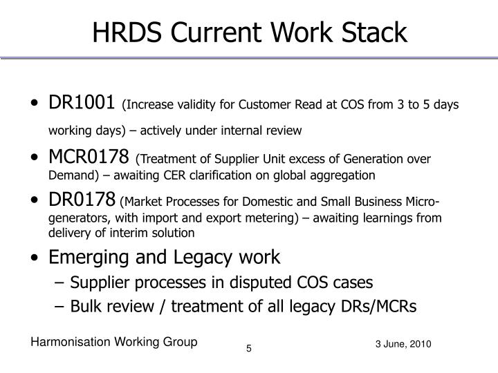 HRDS Current Work Stack