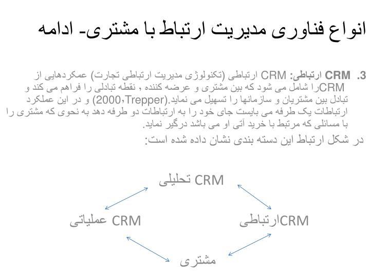 انواع فناوری مدیریت ارتباط با مشتری- ادامه