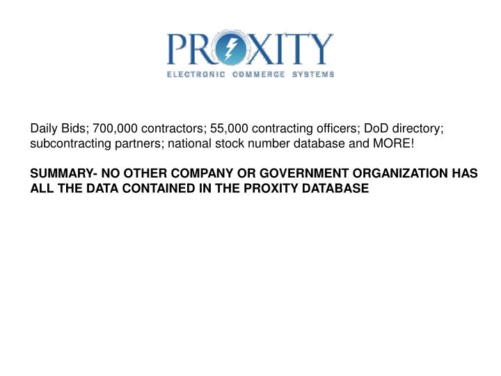 Daily Bids; 700,000 contractors; 55,000 contracting officers; DoD directory;