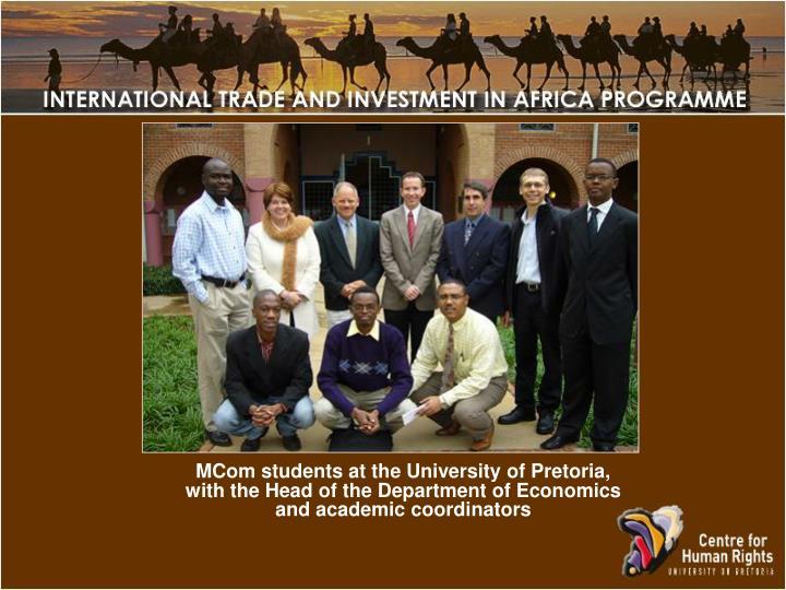MCom students at the University of Pretoria,
