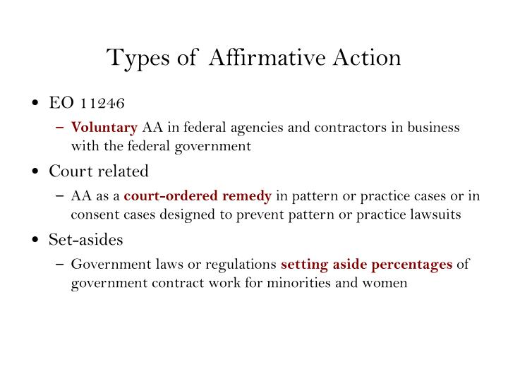 Types of Affirmative Action