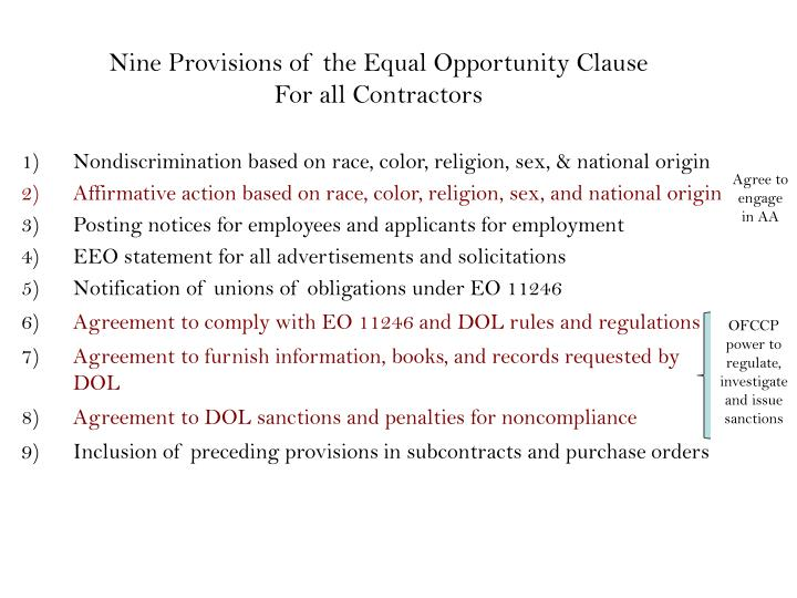 Nine Provisions of the Equal Opportunity Clause
