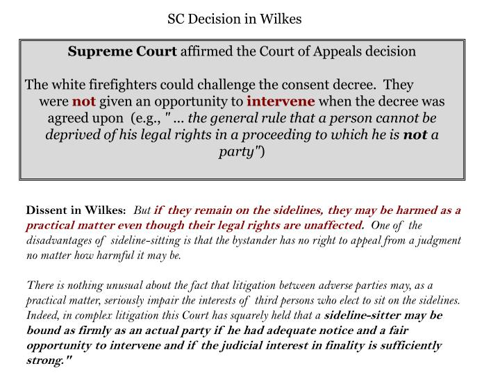 SC Decision in Wilkes
