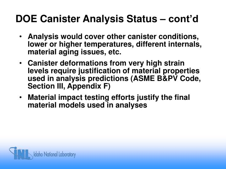 DOE Canister Analysis Status – cont'd